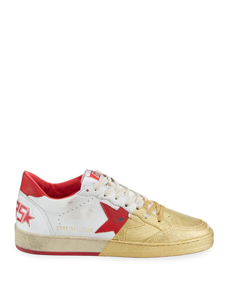Golden Goose Men's Ball Star Distressed Leather Sneakers with Metallic Paint