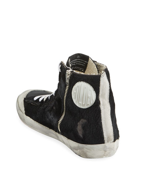 Image 4 of 4: Golden Goose Men's Francy High-Top Calf Hair Sneakers w/ Dirty Treatment