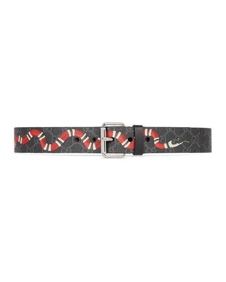 Gucci Men's GG Supreme Snake-Print Belt