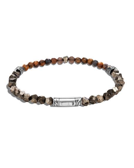 John Hardy Men's Classic Chain Beaded Bracelet with Pyrite, Tiger Iron,   Smoky Quartz & Calcite
