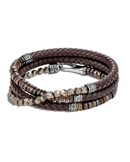 John Hardy Men's Classic Chain Beaded Leather Wrap Bracelet, Brown
