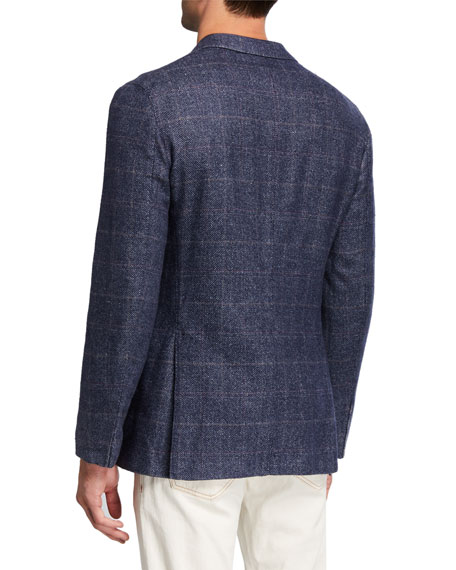 Boglioli Men's Washed Wool Plaid Two-Button Jacket