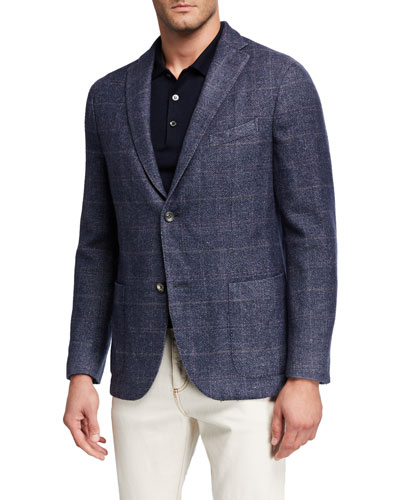 Men's Washed Wool Plaid Two-Button Jacket