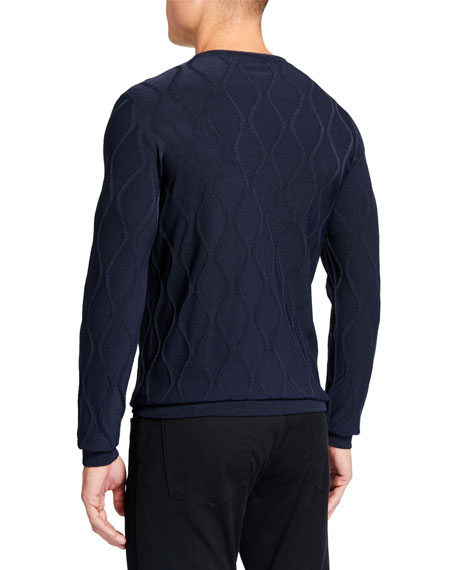 Giorgio Armani Men's Vertical Waves Crewneck Sweater