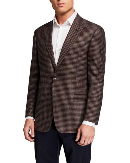Giorgio Armani Men's Gingham Melange Two-Button Jacket
