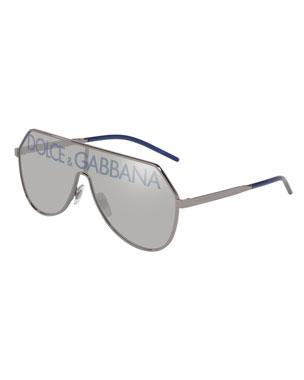 918040a6935f Dolce & Gabbana Men's Logo-Monogram Cutout Shield Sunglasses