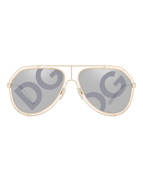 7d405549ede9 Image 2 of 2: Dolce & Gabbana Men's DG Monogram Metal Outline Aviator  Sunglasses
