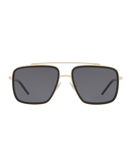 Dolce & Gabbana Men's Square Metal Double-Bridge Sunglasses