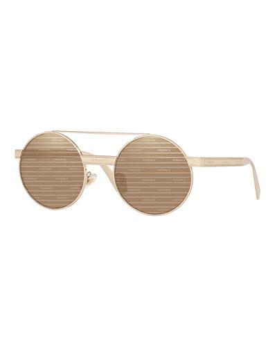 Men's Allover Logo Round Metal Sunglasses