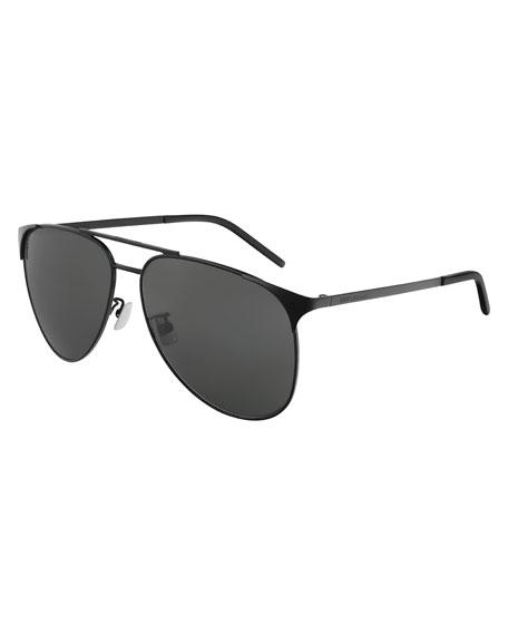 Saint Laurent Men's Metal Half-Rim Sunglasses