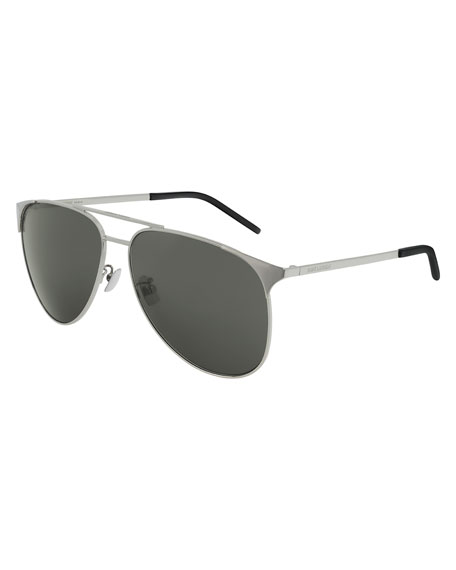 Saint Laurent Men's Metal Half-Rim Sunglasses