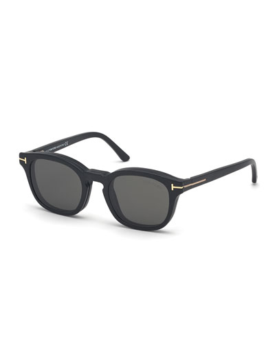 Men's Square Sunglasses w/ Removable Sun Lenses
