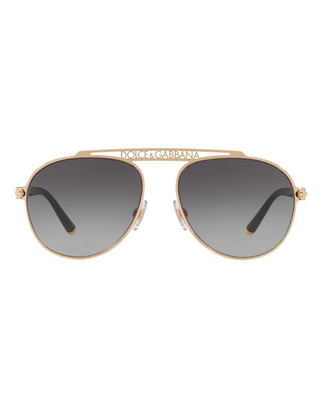 Dolce & Gabbana Men's Logo Brow Bar Metal Aviator Sunglasses