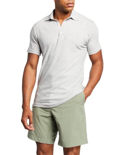Men's Isle Striped Melange Polo Shirt  Gray