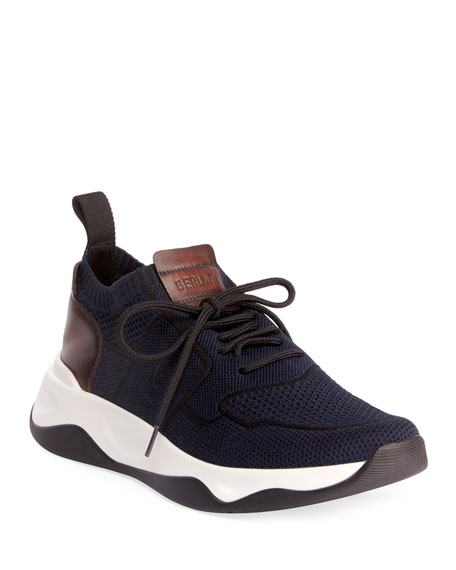Berluti Men's Shadow Stretch-Knit/Leather Sneakers