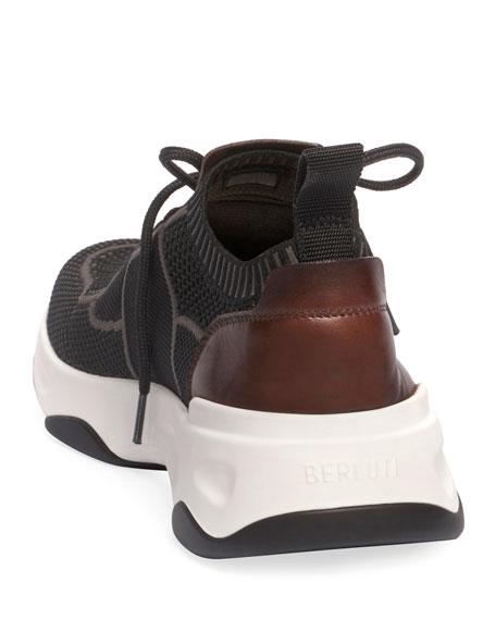 Berluti Men's Shadow Stretch-Knit/Leather Sneakers
