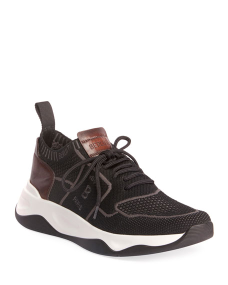 Berluti Knits Men's Shadow Knit Sneaker with Leather Details