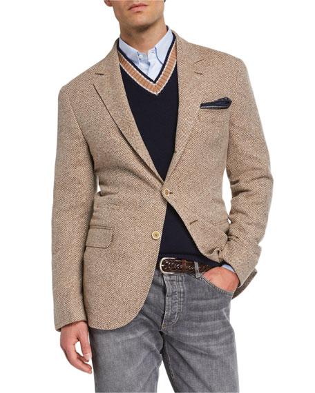 Brunello Cucinelli Men's Notch-Lapel Three-Button Herringbone Jacket