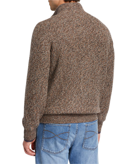 Brunello Cucinelli Men's Chunky Donegal Zip-Up Sweater