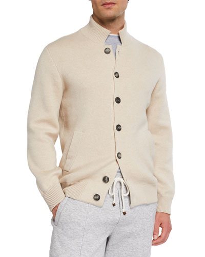 Men's Cashmere Baseball Cardigan