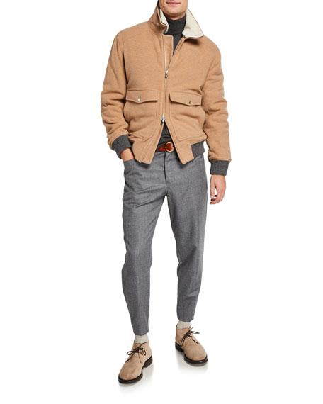 Brunello Cucinelli Men's Traditional Chalk-Stripe Flannel Pants