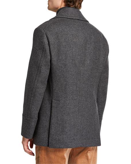 Brunello Cucinelli Men's Heathered Wool Pea Coat