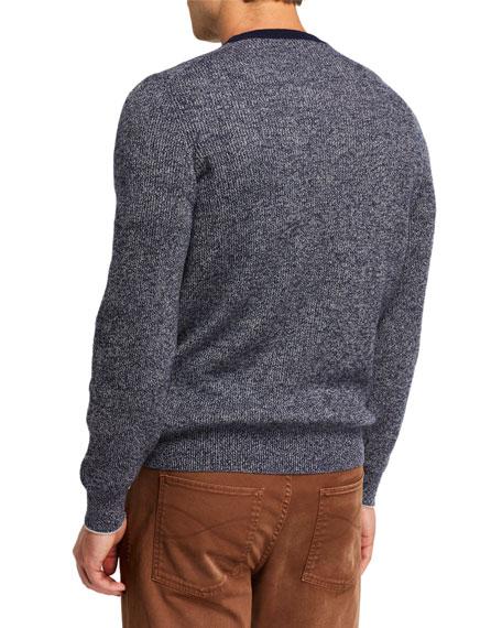 Brunello Cucinelli Men's Banded Crewneck Textured Cashmere Sweater