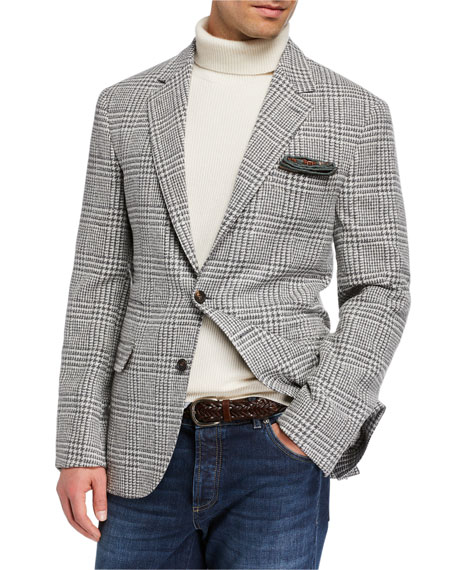 Brunello Cucinelli Men's Notch-Lapel Plaid Two-Button Jacket