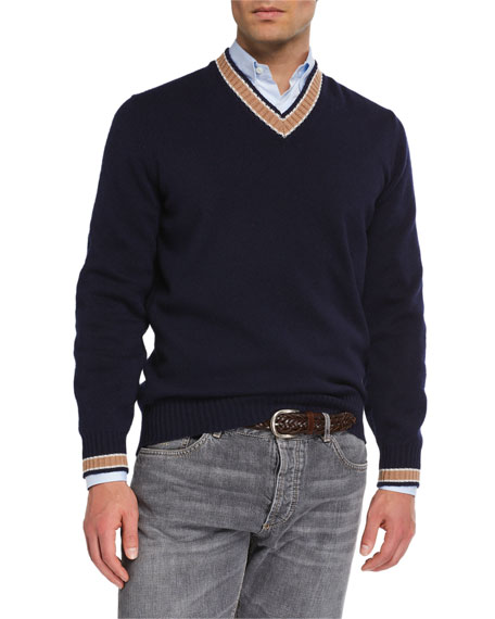 Brunello Cucinelli Men's Cashmere Varsity Sweater