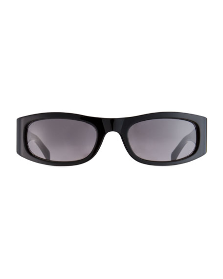 Celine Men's Rectangle Wraparound Acetate Sunglasses