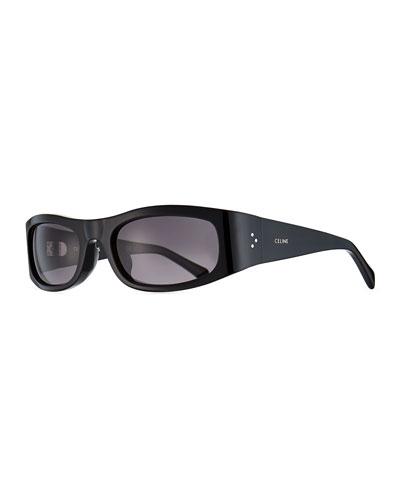 Men's Rectangle Wraparound Acetate Sunglasses