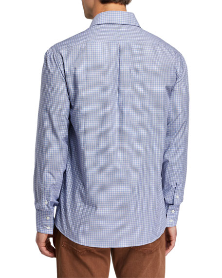 Image 3 of 4: Brunello Cucinelli Men's Basic Fit Check Sport Shirt