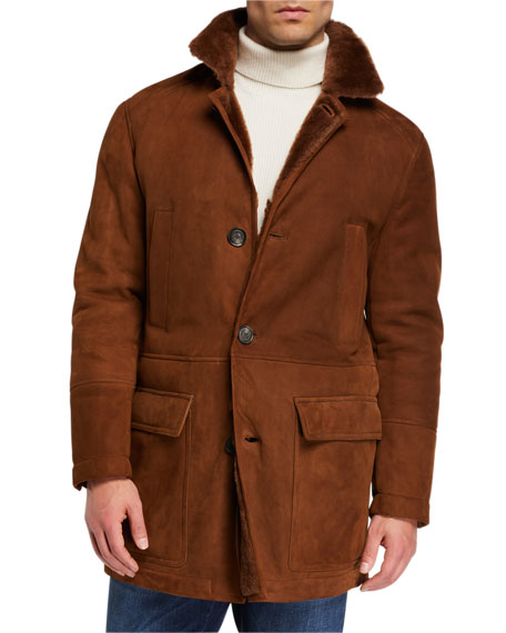 Brunello Cucinelli Men's Fur-Lined Suede Overcoat