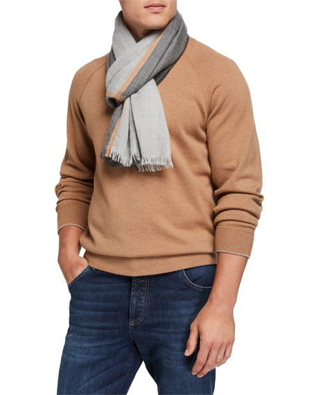 Brunello Cucinelli Men's Cashmere/Silk Scarf