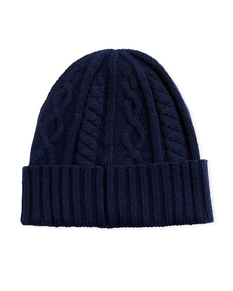 Brunello Cucinelli Men's Cabled Cashmere Knit Beanie Hat