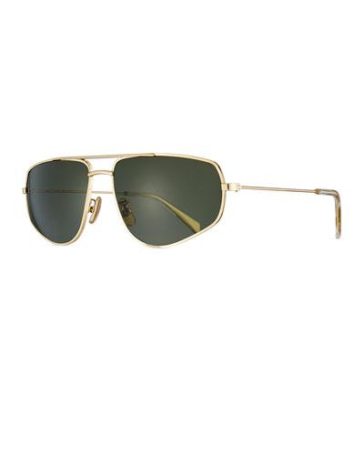 Men's Golden Geometric Rectangle Sunglasses