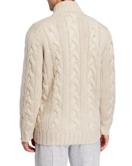 Brunello Cucinelli Men's Cashmere Cable Knit Zip Sweater