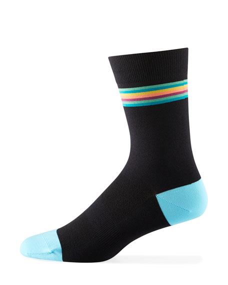 Paul Smith Men's Cycle Striped-Cuff Socks