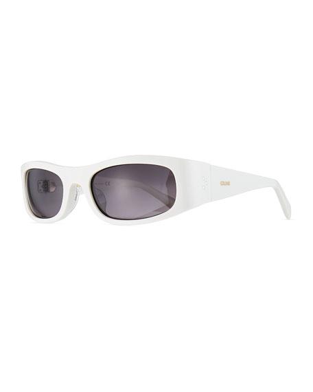 Celine Men's Rectangle Wraparound Acetate Sunglasses