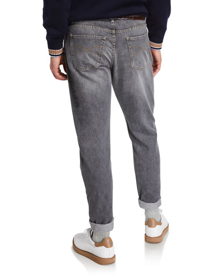 Image 2 of 3: Brunello Cucinelli Men's Traditional-Fit Selvedge Denim Jeans