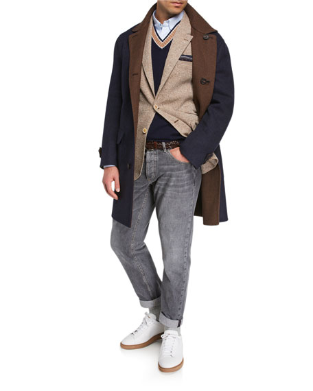 Image 3 of 3: Brunello Cucinelli Men's Traditional-Fit Selvedge Denim Jeans