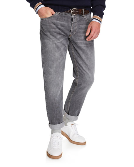 Image 1 of 3: Brunello Cucinelli Men's Traditional-Fit Selvedge Denim Jeans
