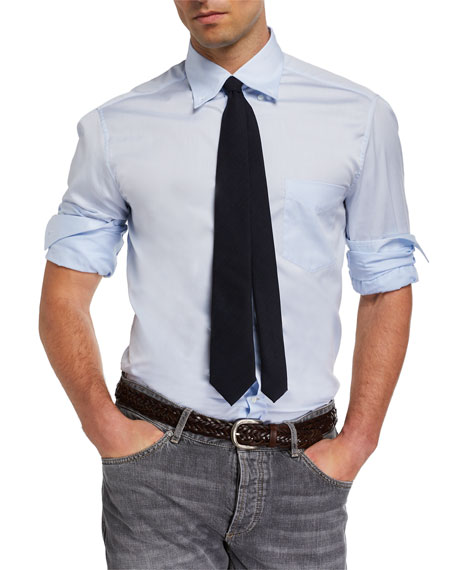 Image 2 of 3: Brunello Cucinelli Men's Basic Fit Solid Sport Shirt with Button-Down Collar