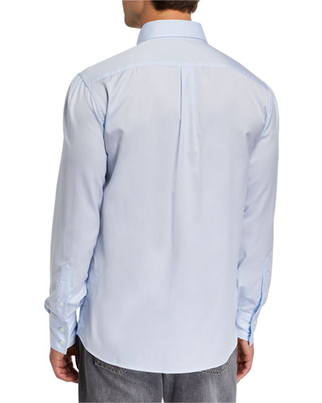 Image 3 of 3: Brunello Cucinelli Men's Basic Fit Solid Sport Shirt with Button-Down Collar