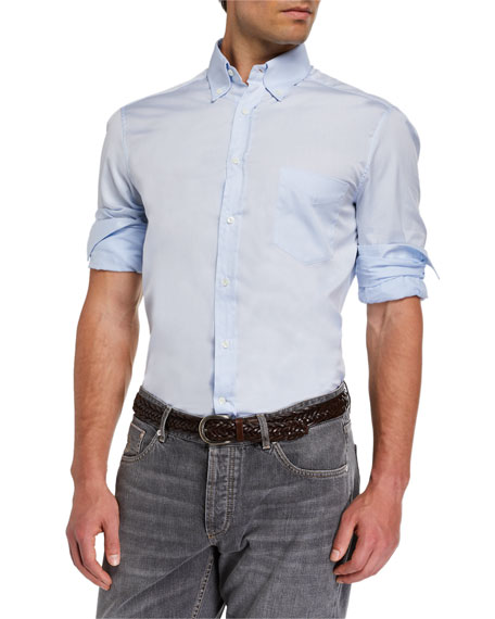 Image 1 of 3: Brunello Cucinelli Men's Basic Fit Solid Sport Shirt with Button-Down Collar