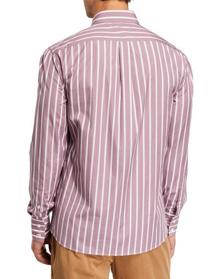 Brunello Cucinelli Men's Basic-Fit Striped Sport Shirt, Dusty Pink