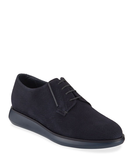 Giorgio Armani Men's Chevron-Suede Derby Shoes
