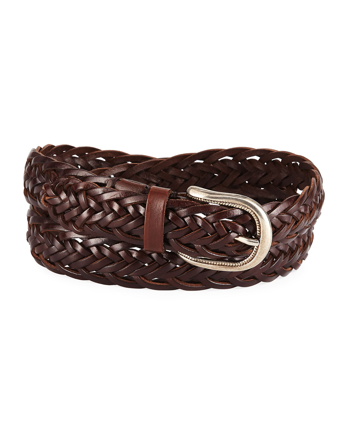 Men's Braided Leather Belt by Brunello Cucinelli
