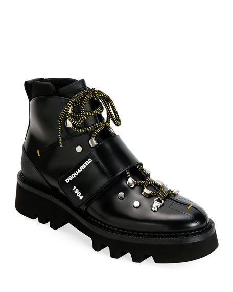 Dsquared2 Men's Leather Lace-Up Hiking Boots with Grip Strap