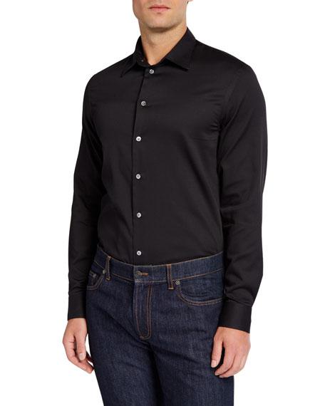 Emporio Armani Men's Cotton Sport Shirt, Black